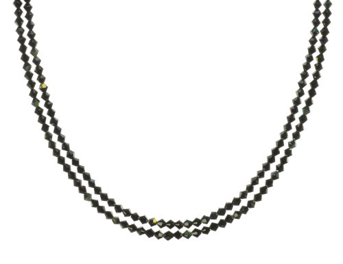 Sterling Silver Swarovski Elements Jet Colored 4mm Beaded Double Strand Necklace
