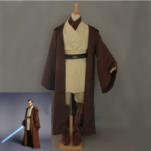 Star Wars Kenobi Jedi TUNICA Hooded Robe Cosplay, taglia L (altezza 165cm-175cm)