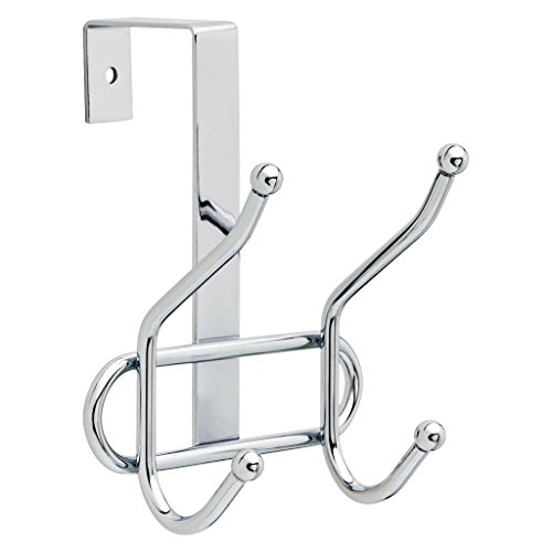 Greenco Steel Over the Door Double Hook, 2 Hooks - Chrome Finish