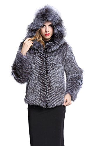 [Topfur Women's Silver Fox Fur Coat with Hat Overcoat Winter Outerwear(US 10)] (Faux Chain Hooded Costumes)