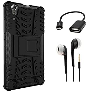 Tidel Hybrid Armor Kick Stand Back Cover Case for Lenovo A6000 (Black) With 3.5mm Handsfree Earphone & Micro OTG Cable