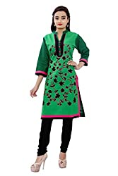 MSONS Women's Green Bales Embroidered Collar Neck Long Cotton Kurti
