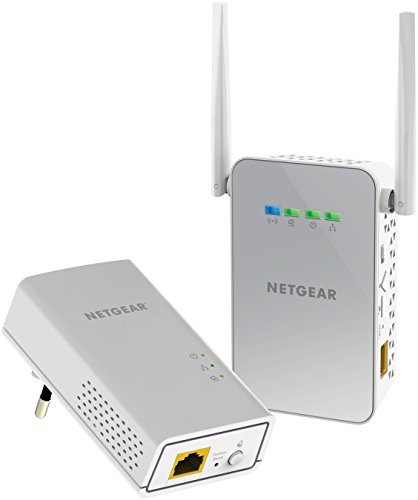 Netgear PLW1000-100PES AC650 WiFi, fino a 1Gbps su Cavo, Kit Powerline Wireless con 1 Porta Gigabit, Bianco
