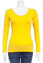 Yellow Ladies V-neck Long Sleeve T-Shirt