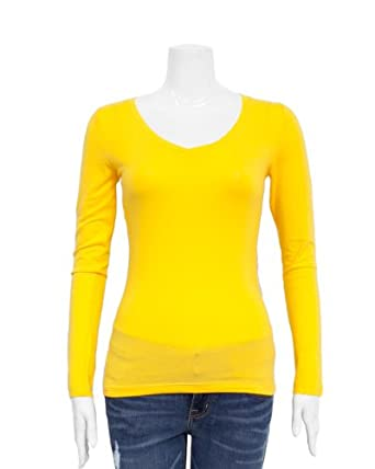yellow ladies v neck long sleeve t shirt at amazon women s