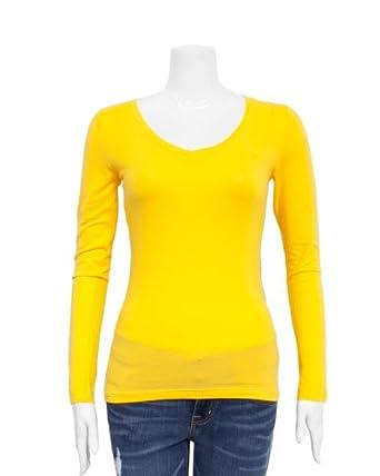 Yellow Ladies V Neck Long Sleeve T Shirt At Amazon Women S
