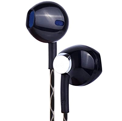 PWOW® E156 Earphone Earbuds Headphones with Microphone Universal 3.5mm Stereo Earphones with Mic & Volume Control for iPhone/ Samsung/ Computer - Black