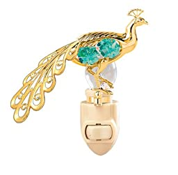Peacock in 24K Gold Plated Night Light..... With Green Color Swarovski Austrian Crystal
