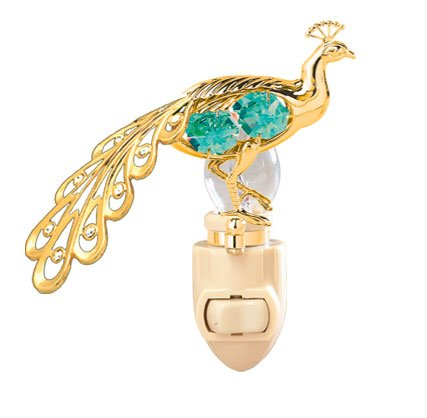 Peacock in 24K Gold Plated Night Light..... With Green Color Swarovski Austrian Crystal - 1