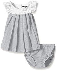 Nautica Baby Jersey Pleat Dress with Eyelet Yoke and Sleeve, Light Grey Heather, 24 Months