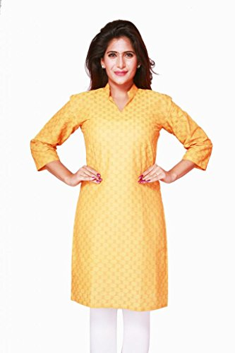 Weaves Pure Cotton Dobby Design Yellow Kurti (Multicolor)