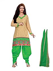 Divisha Fashions Beige and Green Embroidered Cotton Dress Material with dupatta