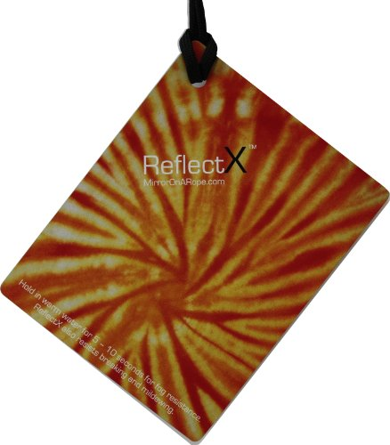 Reflectx By Mirror On A Rope Yellow Orange Tie-Dye Shower Mirror No Fog, No Shadows. Great For Every Day Use, Traveling And Head Shavers. front-166470