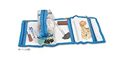 PrettyKrafts Foldable Travel Kit - Vanity Pouch - Shaving Kit - Cosmetics Organizer - Blue