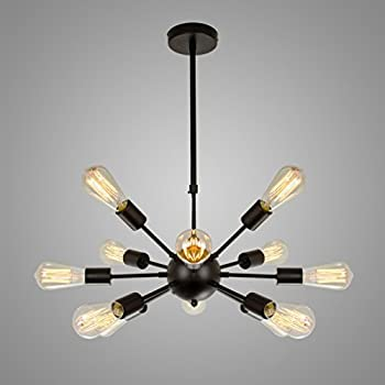 Electro_BP;Vintage Metal Large Chandelier With 12 Lights Black Finish