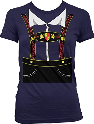 German Lederhosen, Oktoberfest Ladies Junior Fit T-Shirt (Navy, L) front-214782