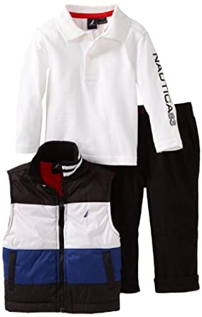 Nautica Sportswear Kids Baby-boys Infant Puffy Vest Set, Deep Black, 24 Months