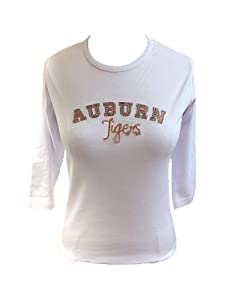 NCAA Auburn Tigers Ladies Plus 3 4 Sleeve Scoop Neck Knit Pullover T-Shirt with... by Collegiate Fashionista