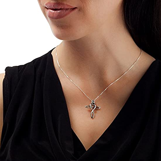 Cross Loving Family Sterling Silver Pendant Necklace