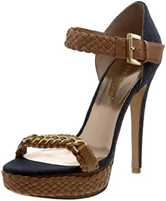 GUESS by Marciano Women's Kusa2 Platform Sandal,Blue,5 M US