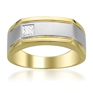 14k Two-Tone Gold Princess-cut Diamond Men's Wedding Band Ring (1/5 cttw, H-I, I1-I2)