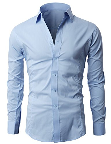 Mens Slim Fit Casual Formal Shirt Basic Plain Dress Office Long Sleeve PS01 (L, Sky Blue)