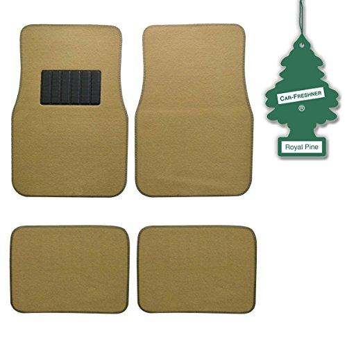 bdk-light-beige-4-pc-universal-carpet-car-mats-w-heel-pad-little-tree-royal-pine