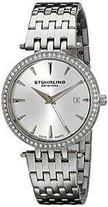 Stuhrling Original Women's 579.01 Soiree Swiss Quartz Swarovski Crystals Date Silver Watch