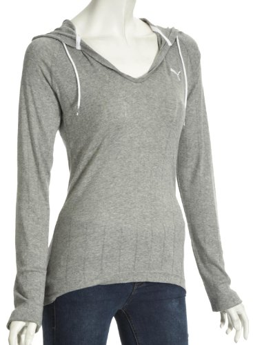 Puma Women's Lightweight Cover-Up Top - Athletic Grey Heather-White, Size 12