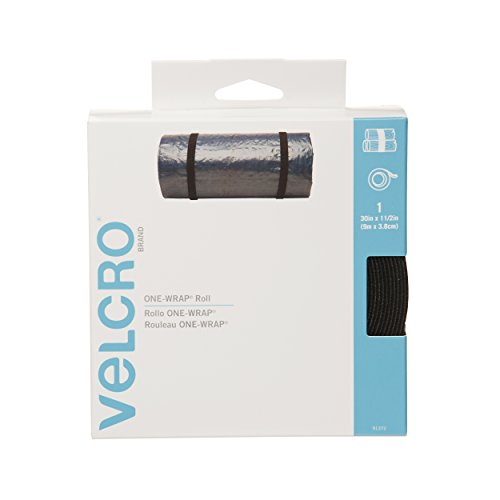 """Velcro Brand - One-Wrap: For Cables, Wires & Cords - 30' X 1 1/2"""" Large Roll - Black front-218030"""