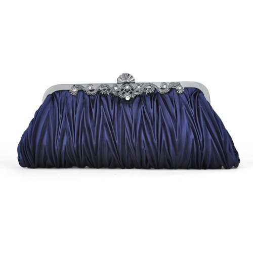 TopTie Pleated Satin Clutch, Dark Blue Evening Handbag, Gift Idea