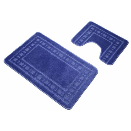 Blue Armoni Bath Mat Bathroom 2 Piece Bath & Pedestal Mat Set Non Slip Backing by Quality Linen and Towels