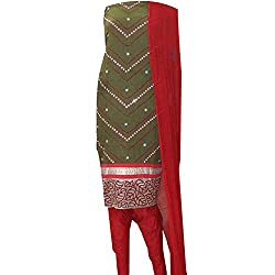 APKAMART Women Cotton Tie and Dye or Rajasthani Bandhej Dark Green and Red with Nylon Dupatta - Unstitched Dress Material - 2.2 Meters