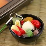 そっくり 食品サンプル 携帯ストラップ (フルーツみつ豆)