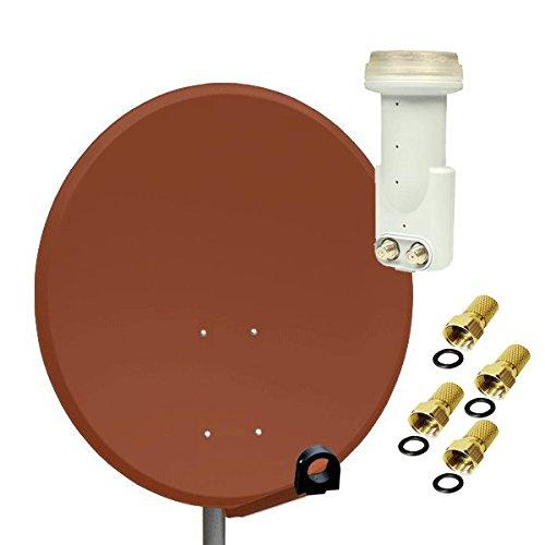 Antenne PremiumX SAT Schüssel Spiegel 80 cm Alu, PXA-80 Ziegelrot Aluminium Digitale Sat Anlage FullHD HDTV + LNB Twin 0,1 dB He@d Blue Series LNB FULLHD 3D + 4x F-Stecker 7mm Vergoldet Gratis dazu !!!