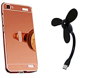 Novo Style Back Cover Case with Bumper Frame Case for Vivo V1 Rose Gold + Mini USB Fan Adjust Angle / bendable Portable Flexible USB Fan