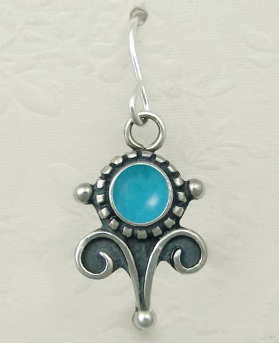 Turquoise Sterling Silver Vicorian Hook Earrings When You Need Just a Little Bit of Color