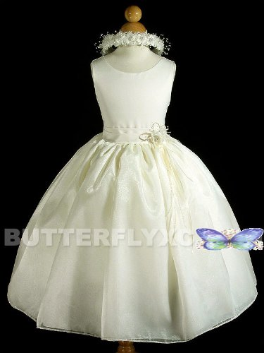 A8002d NEW Ivory Flower Girl Pageant Easter Party Dress + Free Hair Wreath Size 2 4 6 8 10 12