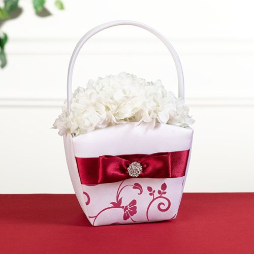 Lillian Rose-Red & White Flower Basket