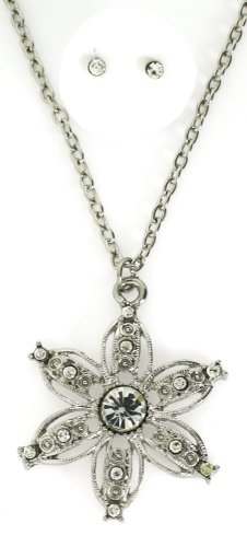 Clear Austrian Crystals Silver-toned 6-Petal Flower Pendant Necklace and Earrings Set