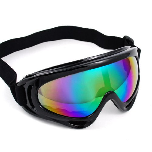 Windproof Wrap Around Style Black Frame Rainbow Lens Elastic Strap Padding Frost Free Unisex Men Women Uv Goggles Eyewear Sunglasses Costume Helmet Trim Decorative Cosplay Mask Tactical Gear