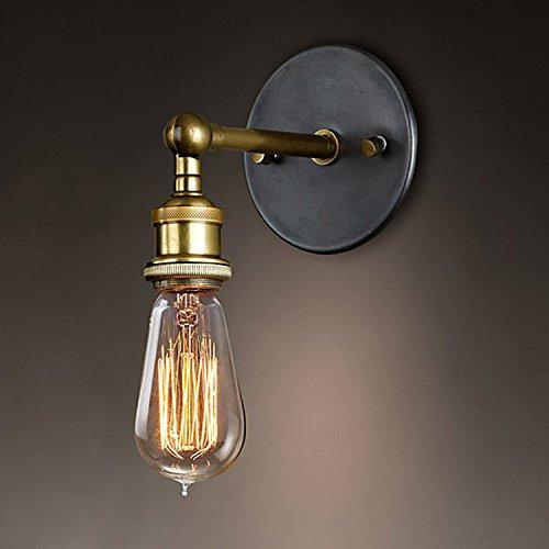 Splink Industriale dell'annata Applique da parete Lampada da parete a luce Regolabile Finito in ottone Testa in rame con Portalampada E27 per casa, Bar, ristoranti,Club, (110-220 V, lampadine non incluse)