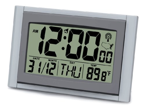 Ken-tech Atomic Radio Controlled Alarm Clock Jumbo 2 Inch Time LCD Digits with Date and Temperature (1)