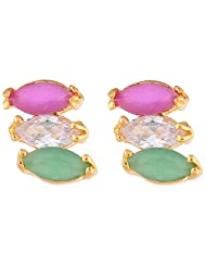 Ganapathy Gems Cz Tri Colour Stud