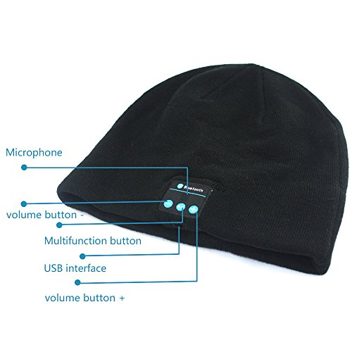 LP Beanie Winter Hat , Stocking Cap , Wireless Bluetooth Headphones . Music Play for Hands Free ,Warm Comfortable Fashionable (black)