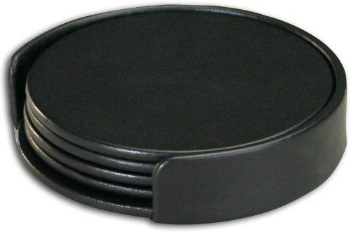 Dacasso Black Leather 4-Round Coaster Set