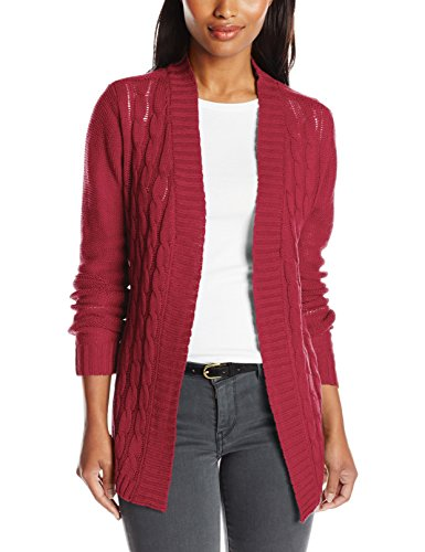 Jason Maxwell Women's Front Cable Shirt Tail Hem Cardigan Sweater, Rumba Red, X-Large