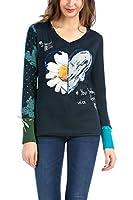 Desigual Alba - T-shirt - Imprimé - Col V - Manches longues - Femme