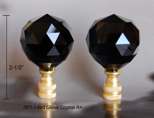 2 of Black 26% Lead Glass Crystal Lamp Shade Finials