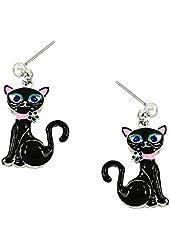 New - Beautiful Black Cat Earrings